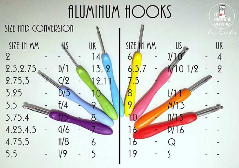 ALUMINUM HOOK SIZE AND CONVERSION